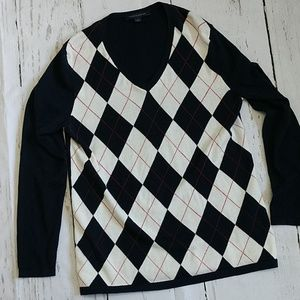 Tommy Hilfiger Argyle Sweater Navy, White &, Red